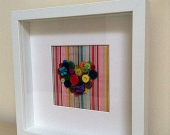 Layered button heart in frame