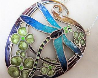Large Stunning Art Nouveau Style Sterling Silver & Enamel Dragonfly Pendant
