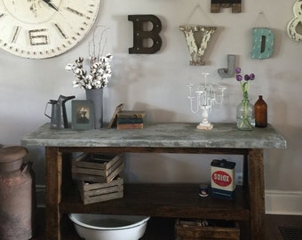 Marbled Concrete Top Console Table