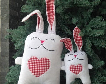 Bugsy the Rabbit in love plush stuffed toy pillow perfect present