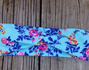 Mint floral baby girl turban headband size 0-6 months