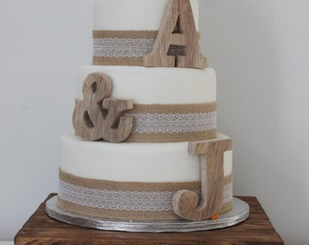 Rustic Wedding Cake Toppers - Personalised Cake Toppers - Small Wooden Letters - Cake Topper Initals - Childrens Decor - Nursery Decor