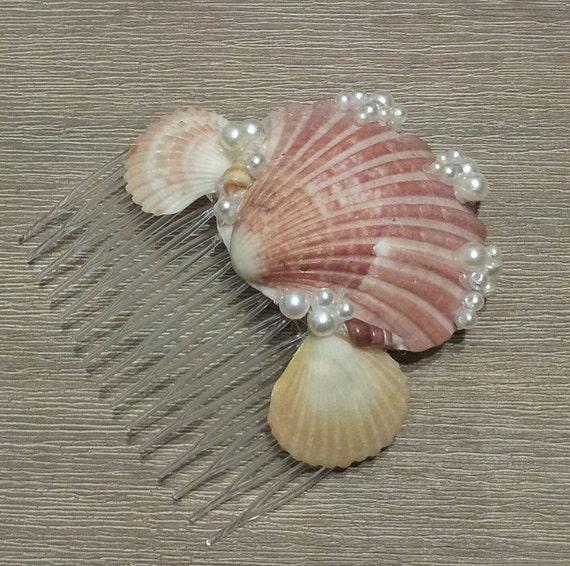 Wedding seashell hair comb crown accessory bride bridesmaid for Seashells for hair