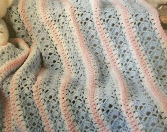 Blue and pink afghan