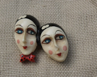An Unusual Hand-Painted Art Deco Faces Brooch