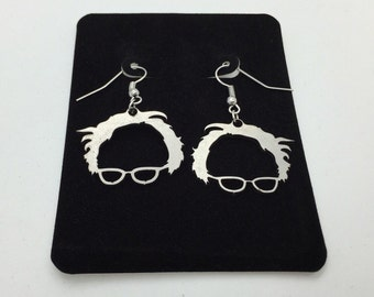 Bernie Sanders Brass Copper Earrings, Silver Fish Hook Earrings, Political earrings , Bernie Sanders Pendant, Bernie Sanders Jewelry, DONATE