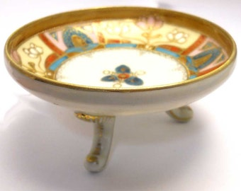 Footed dish bowl vintage antique Japan hand painted early 1900s