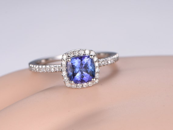 Cushion 1.2ct Tanzanite ring,diamond engagement ring,solid 14k White gold band,Pink gemstone,bridal ring,Stacking wedding ring,romise,halo
