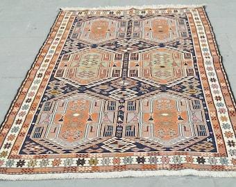 vintage soumak kilim rug 196x123cm6,4x4feet turkish kilim rug,area rug,home accent kilim,decor kilim,area kilim rug,interior design kilim