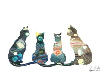 "Cats In The Cosmos/Art Print/Nature/Nursary Decor/Abstract/Mixed Media A4 (11.69x8.27"")"