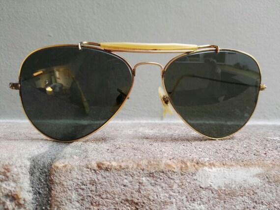 ray ban outdoorsman jx7b  Original 70's Vintage Ray Ban B&L Outdoorsman 1/30 10K GO Gold Overlay  Sunglasses,