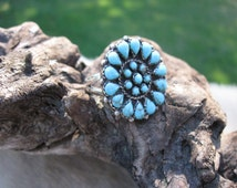 Vintage Handmade Zuni Silver and Turquoise Ring, Needle Point Ring, Petit Point Ring, Tribal Ring