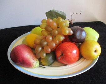 Faux Fruits (apples, pears, lemons, lime, bunch of grapes, orange, plum & banana)