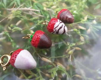 Cute Chocolate Covered Strawberry Charm