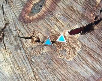 Gold Turquoise Triangle Stud Earrings