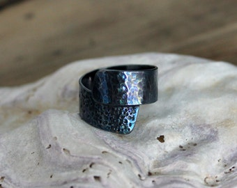 Oxidised Sterling Silver wrap around ring