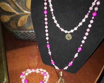 Tassle necklace-swarovski and crystal necklace .