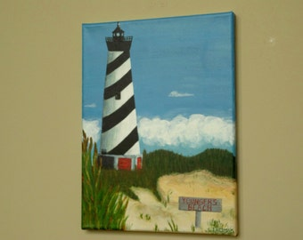 Lighthouse Painting, CUSTOM Painting,Nautical Decor, Father's Day Gift,Beach Painting, Beach Decor, Coastal Art, Personalized Beach Sign