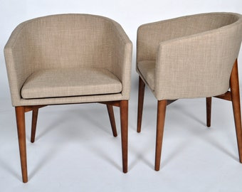 Set of 2 Mid Century Modern Beige Chair Removable Cushion