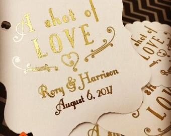 Wedding favor tags, favor tags, shot of love, shot favors