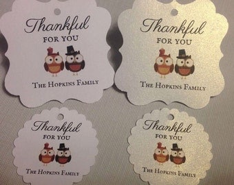 Thanksgiving favor tags, thankful for you, party favor