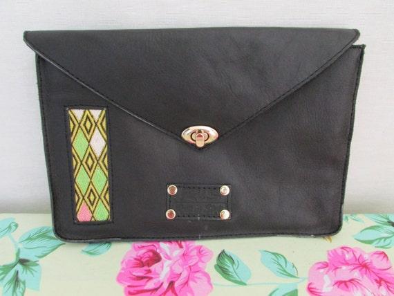 Black leather clutch, leather Evening bag, mother's day gift, black ladyclutch, Wedding clutch, evening clutch, envelop clutch, women wallet