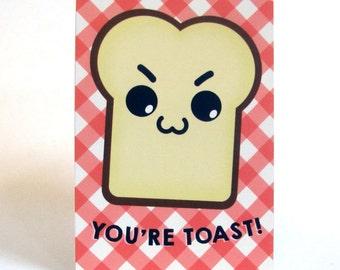 A6 Kawaii Toast  Postcard Print