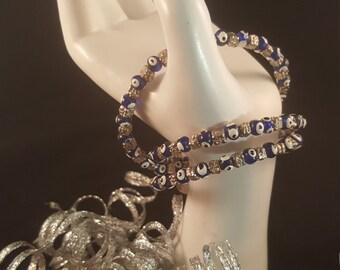 Blue Eye Memory Wire Bracelet