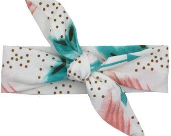 Pink and Teal Watercolor Arrow Print Top Knot Headband