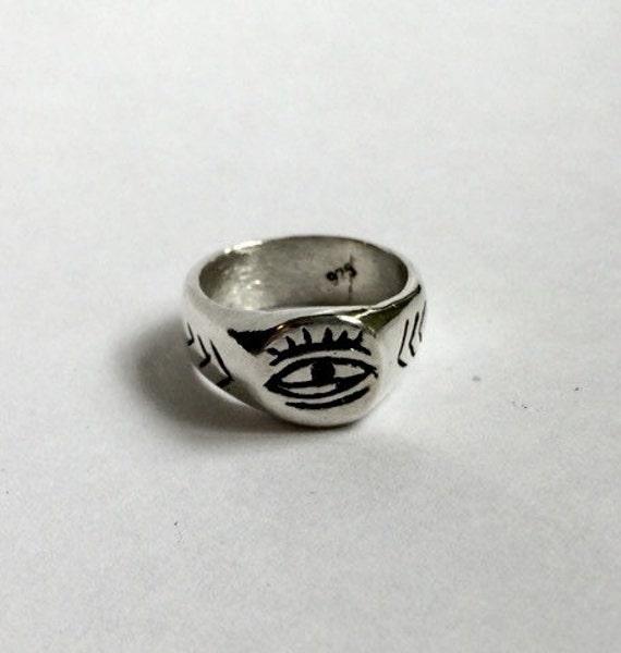 evil eye ring sterling silver ring signet ring chunky