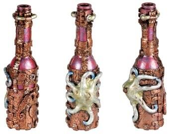 """6"""" steampunk octopus bottle"""