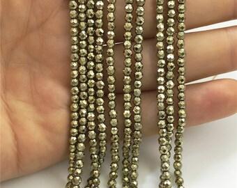 3mm Faceted Hematite Beads,Gold Beads,Hematite Jewelry