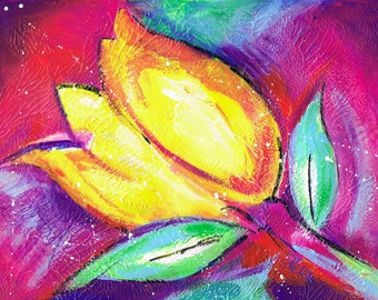 Vibrant Tulip Acrylic Mixed Media Painting Art Print