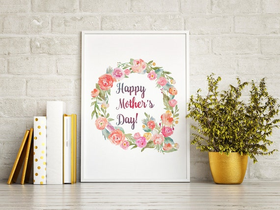 Mothers day printable, Watercolor flowers, Mother's day, Mothers Day Gift, Mothers Day Print, Watercolor wreath, Watercolor Wall Art, Mother