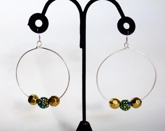 green gold and silver beaded hoop statement earrings
