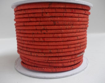 Natural red portuguese cork,cork cord 3mm(1 Meter)