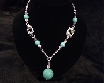 Dolphin & Turquoise Beaded Necklace