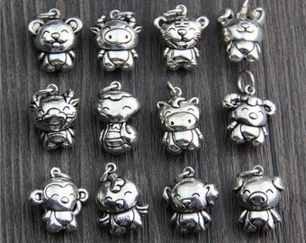 Sterling Silver Chinese zodiac charm,Chinese zodiac signs,Birthday necklace, Astrology Necklace,Sterling Silver