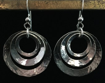Sterling Hammered Tri-Circle Dangle Earrings