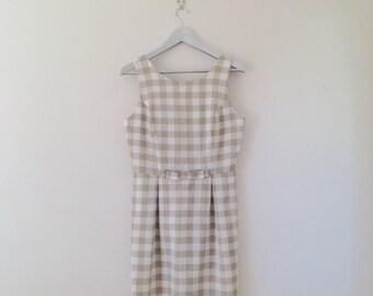 Vintage Dress. Dress. 60s. Gingham. Bow. Olive Green.