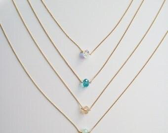 Necklace solitaire Crystal swarovski 14 k