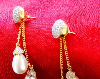 CZ earring with Pearl Dangles