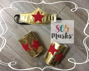 Wonder Woman Costume, Super Hero Headband and Arm Bands, Wonder Woman Headband, Wonder Woman Arm Cuffs, Halloween Costume , Kids Costumes,