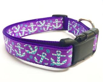 """Purple Anchor 1"""" Dog Collar"""