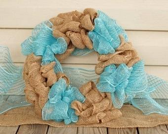 Burlap Wreath- Teal & Brown