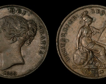 Antique Old English Coin Genuine Queen Victoria Large Copper Penny 1858, British, Victorian
