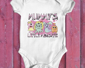 Mummy's Little Monster baby bodysuit | cute baby girl clothes | funny baby bodysuit | baby shower gift | newborn baby clothes