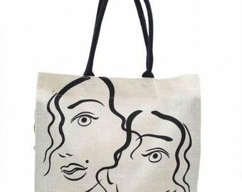 Jute Bag (2 Lady ) - 16.5 x 15W inches