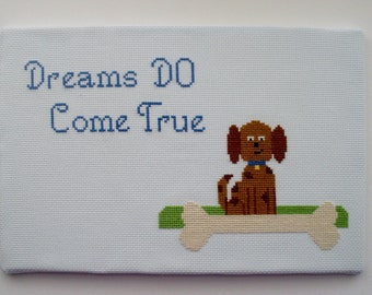 Dreams DO Come True - Dog with Bone PDF Cross Stitch Pattern - Instant Download - Printable Pattern