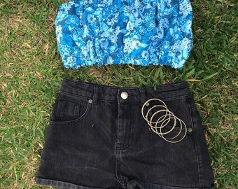 blue floral tube top - size 6/8